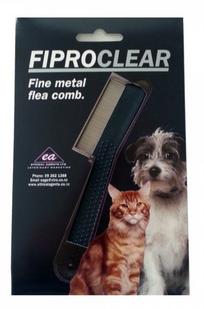 A FiproClear fine metal flea comb in its packaging